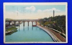 1915 Vintage Post Card High Bridge Harlem River And Speedway New York City Ny