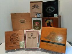 Lot Of 8 Vintage Wooden Cigar Boxes See Photos