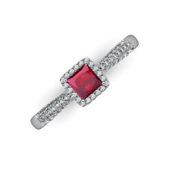 Ruby And Diamond 1 1/10 Ctw Halo Engagement Ring 14k Gold Jp215482