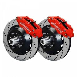 Wilwood Narrow Superlite 6r Front Hub Kit 14.00in Drill Red 1965-1969 Mustang D