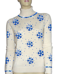 Luxe Oh` Dor 100% Cashmere Sweater Luxury Snowflakes Pearl White Royal 46