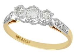 1940s Vintage 0.41 Ct Diamond And 18k Yellow Gold Trilogy Ring Size 6.25