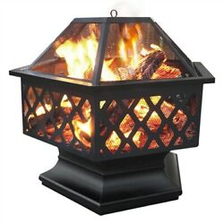 24in Antique Fire Pit Iron Wood Coal Burning Firepits With Mesh Poker Fire Bowl