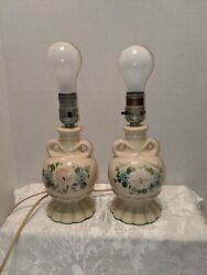 Vintage Hand Painted Floral And Bow Enamel Vanity Table Lamps