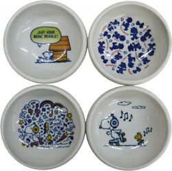 The Peanuts Snoopy Mini Dish Bowl 4set Porcelain Easy Use For Baby Handicapped
