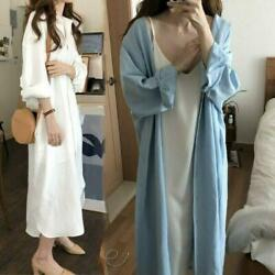 Lady Loose Long Shirt Blouse Dress Casual Cotton Oversized White Blue Shirts Top