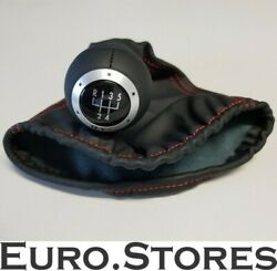 Vw Lupo Original Gti Leather / Knob Gear Black With Red Stitching - New