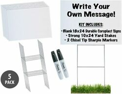 18x24 Durable Blank Yard Sign Kit 3510 Or 50 W/ Stakes+free Sharpies