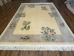 6' X 9' Vintage Hand Made Chinese Art Deco 120 Lines Wool Rug Flowers Nice Ivory