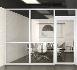 Cgp Office Partition System, Glass Aluminum Wall 10' X 9' W/door, White Semi