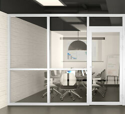Cgp Office Partition System, Glass Aluminum Wall 9'x9' W/door, White Semi