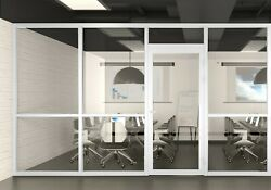 Cgp Office Partition System Glass Aluminum Wall 11andrsquox9andrsquo W/door White Semi