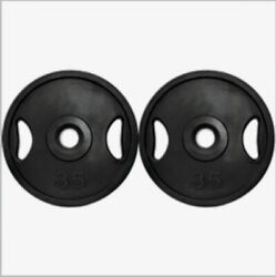 Pair Olympic Iron Plates 35 Lbs Weight Plates Rubber Coated Grip