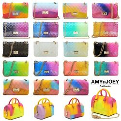Multicolored Jelly 2 Way Shoulder Bag Crossbody Purses $27.99