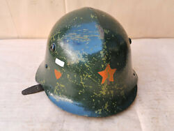 Vtg Old Iron Military Helmet Decal Red Star Wwii Bulgarian Flag