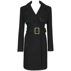 Gianni Versace C.1990's Couture Black Wool Belted Coat Leather Zig Zag Trim