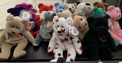 (LOT of 30) Ty Beanie Baby Babies LOT RARE BEARS PUPPIES Collectors