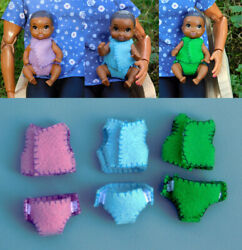 16 Scale Felt Baby Doll Outfits - Fit Barbie Baby Dolls - Blue Green And Purple