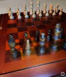Cardinal Industries Foldaway Chess Set Redwood Inlay Board And Wood Pieces Clean