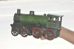 Vintage Wind Up Litho Gnr Green And Black Train Engine Tin Toy, Germany