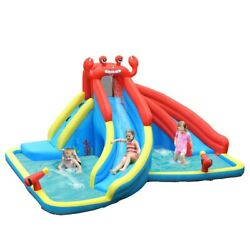 Inflatable Bounce House Slide Safety Three Play Areas Kids Bouncy Castle W/ Pool
