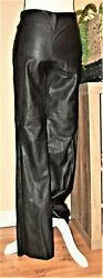 Alice + Olivia Bootcut 100 Leather Pants Black Size 2 New