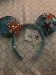 Exclusive Disney Parks Aulani Resort And Spa Moana Sequin Floral Headband Ears Nwt