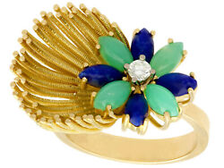 Chrysoprase And Sodalite Diamond 18carat Yellow Gold Cocktail Ring Size N 1/2
