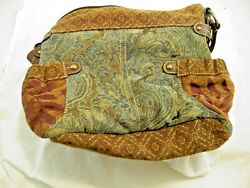 Fossil Tapestry and Leather Purse Handbag Nice