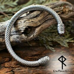 Solid Viking Bracelet Stainless Steel Cuff Norse Arm Ring Torc Viking Jewelry