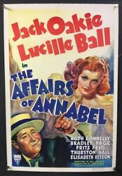 Affairs Of Annabel Original Movie Poster 1938 Lucille Ball Hollywood Posters