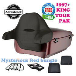 Mysterious Red Sunglo King Tour Pack Black Hinge Latch For 97-20 Harley Touring