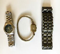 Lot Of 3 Wrist Watches 1 Antique Elgin 10k Gold , 1 Guess, 1 Novelty Lava Watch