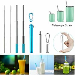 Reusable Telescopic Straw Stainless Steel Collapsible Portable Drinking Travel $4.99