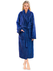 Premium Womens Plush Soft Robe Fuzzy Fluffy Warm Sherpa Fleece Bathrobe Spa Robe $28.99