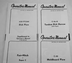 4 Ownerand039s Manuals Farmall Super C Fast Hitch 2 Point Plow Disk 2 Pan Disc Plow