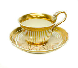 Imperial Royal Vienna Porcelain And Gilt Striped Cup And Saucer, 1821