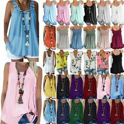 Women's Summer Boho Loose Vest Tank Tops Sleeveless Cami T-Shirt Tunic Blouse US $9.92