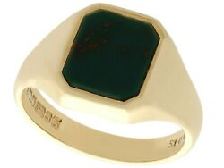 Bloodstone And 9k Yellow Gold Signet Ring - Vintage 1976