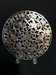Vintage 6andrdquo Round Sterling Silver And Glass Trivet