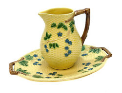 And Co. Portugal Porcelain Yellow Wicker Texture Water Pitcher And Basin