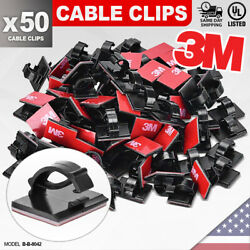 50 Pack Black 3m Self Adhesive Cable Clips Cord Organizer Management Clip Holder