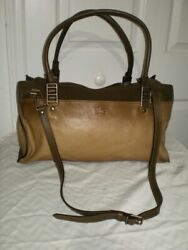 Italy 2 Tone Brown Leather Gardener Duffle Carry On Cross Body Bag Rare