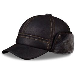 Mens Real Leather Winter Fur Lined Baseball Cap Warm Thick Ear Flap Hats Trapper