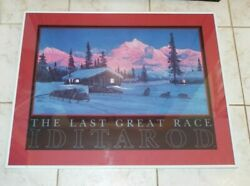 1987 Charles Gause The Last Great Race Iditarod Framed, Matted Print, Dog Race