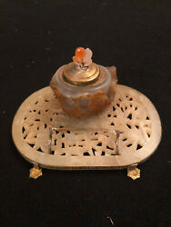 Chinese 19th Century Carved Jade And Bronze Mounted Inkwell With Pen Stand