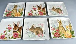 Maxcera Spring Collection 6 Square Dinner Plates 11 New W Tags Easter