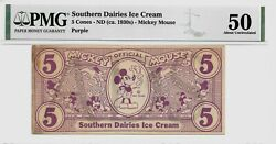 1930s 5c Southern Dairies Ice Cream Mickey Mouse Cone Disney Dollar Pmg 50