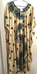 eShe maxi lounge dress - one size fits all 4x-5x - Peacock design -New wtags $9.50
