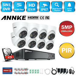 Annke 8ch H.265+ Dvr 5mp Security Ip67 Dome Camera Home Night Vision System Us
